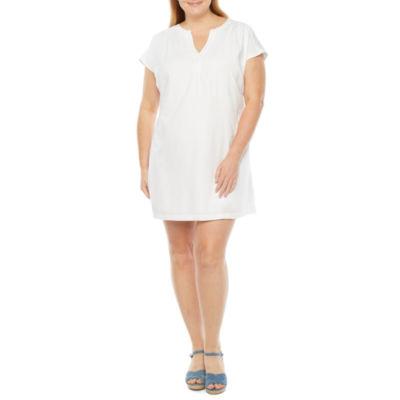 St. John's Bay Plus Short Sleeve Shift Dress