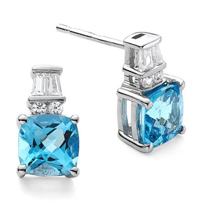 Genuine Blue Topaz and Lab-Created White Sapphire Earrings