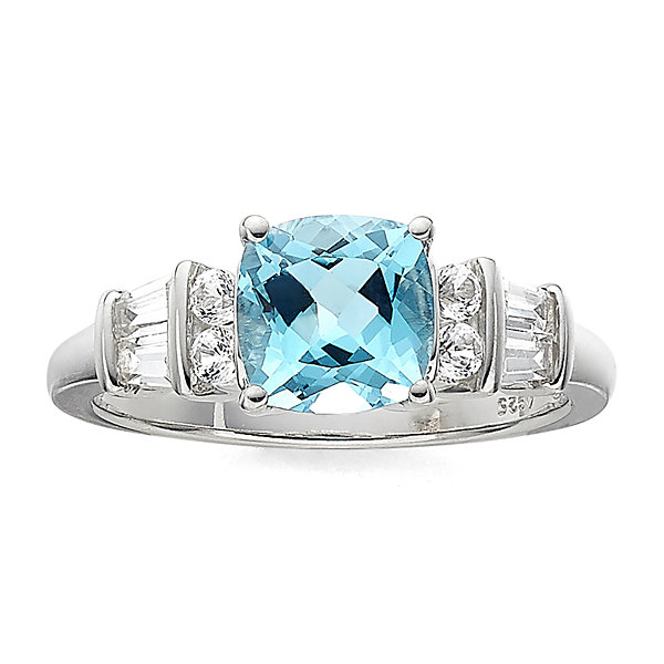 Genuine Blue Topaz & Lab-Created White Sapphire Sterling Silver 3-Stone Ring