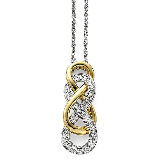Infinity Promise 1/10 CT. T.W. Diamond Two-Tone Infinity Pendant Necklace
