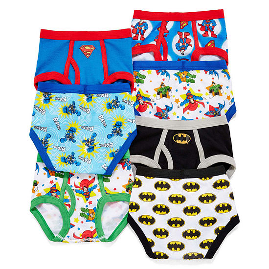7 Pair Justice League Briefs-Toddler Boys