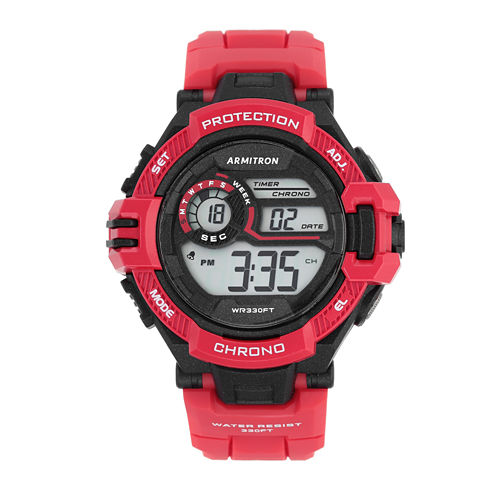 Armitron® Mens Red Strap Watch