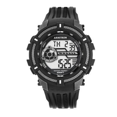 Armitron® Mens Black Strap Digital Watch