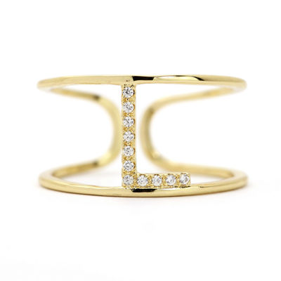 Sparkle Allure Adjustable Cocktail L Ring