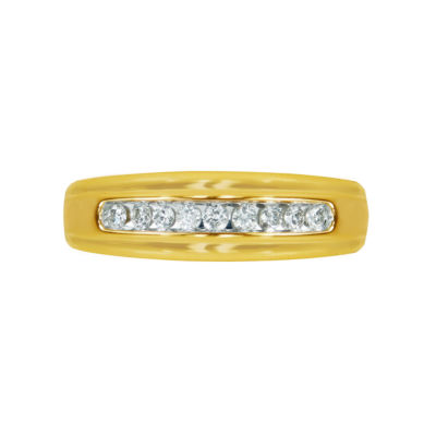 Mens 1/4 CT. T.W. White Diamond 10K Gold Wedding Band