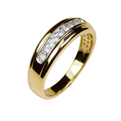 Mens 1/4 CT. T.W. Genuine White Diamond 10K Gold Wedding Band