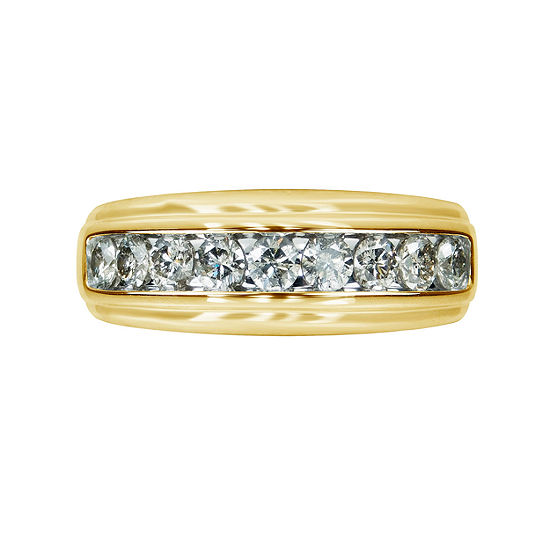 Mens 1 Ct Tw White Diamond 10k Gold Wedding Band Jcpenney