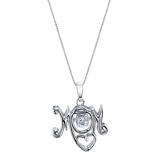 Inspired Moments Womens White Cubic Zirconia Sterling Silver Pendant Necklace