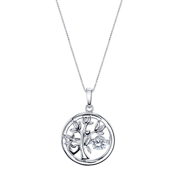 Inspired Moments ™ Dancing Cubic Zirconia Sterling Silver Family Tree Pendant Necklace