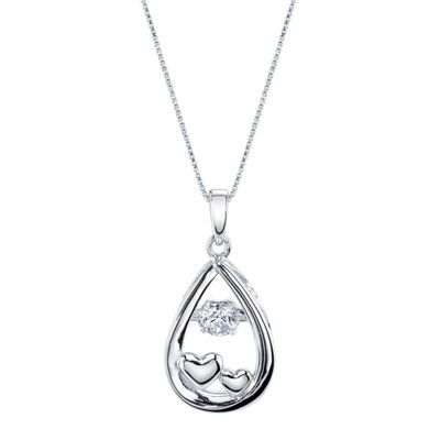 Inspired Moments ™ Dancing Cubic Zirconia Sterling Silver Love You To The Moon Pendant Necklace