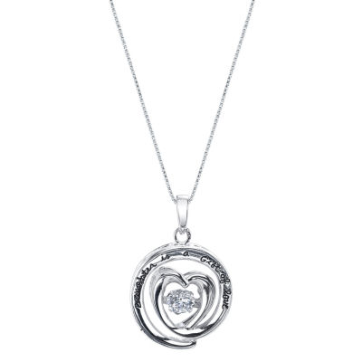 Inspired Moments ™ Dancing Cubic Zirconia Sterling Silver Daughter Heart Pendant Necklace