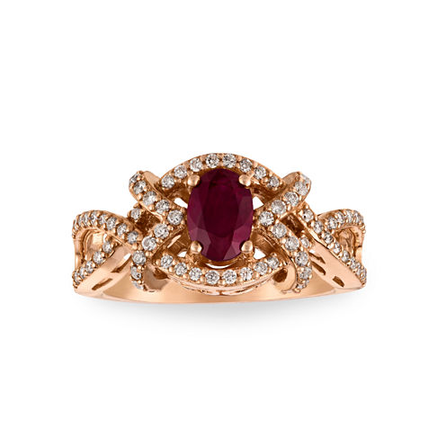 Grand Sample Sale™ by Le Vian® Lead-glass Filled Passion Ruby™ and 3/8 CT. T.W. Vanilla Diamonds® 14K Strawberry Gold® Le Vian® Fiery Reds™ Ring