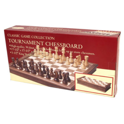 "Tournament Walnut Inlay Chess Board Set With 3.5"" King"