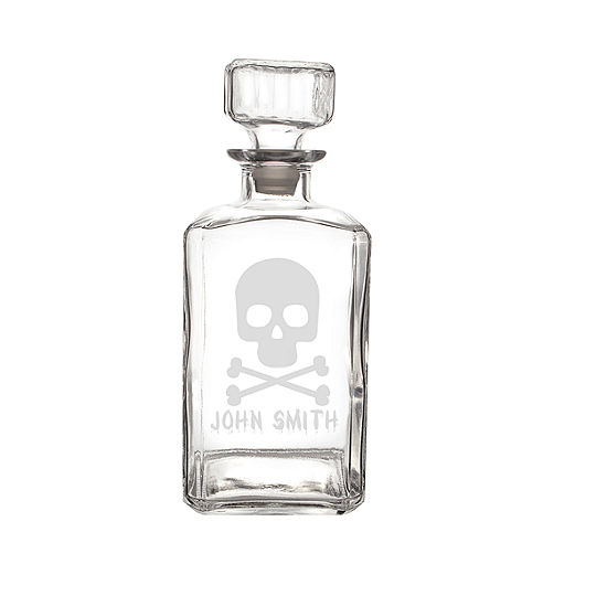 Cathys Concepts Personalized Skull Crossbones 34 Oz Glass Decanter