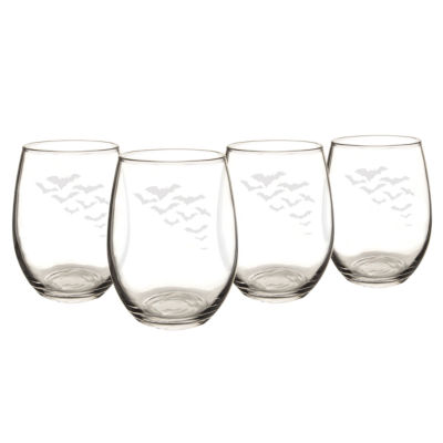 Cathy's Concepts Colony Of Bats Set Of 4 Stemless Wine Glasses