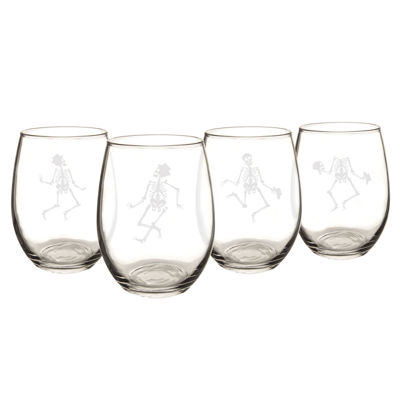 Cathy's Concepts Dancing Skeletons Set Of 4 Stemless Wine Glasses