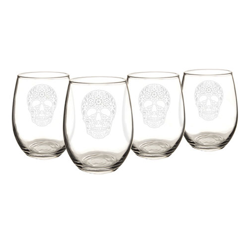 Cathy'S Concepts Sugar Skull Set Of 4 Stemless Wine Glasses