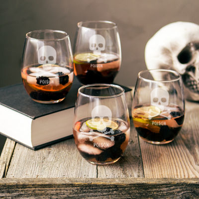 Cathy'S Concepts Personalized Skull & Crossbones Set Of 4 Stemless Wine Glasses