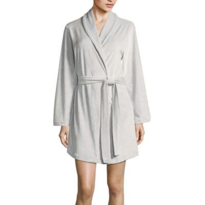 Long Sleeve Faux Velour Robe