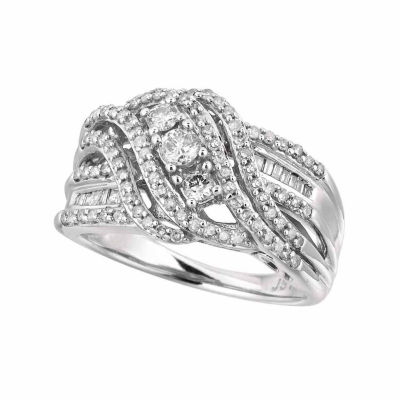 Womens 3/4 CT. T.W. White Diamond 10K Gold Cocktail Ring