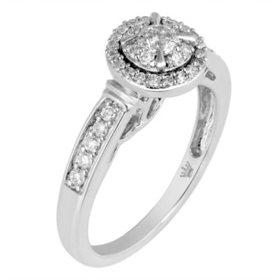 Hallmark Bridal Womens 1/2 CT. T.W. Genuine Round White Diamond 10K Gold Engagement Ring