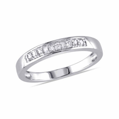 Womens 2mm 1/10 CT. T.W. Genuine White Diamond Sterling Silver Band