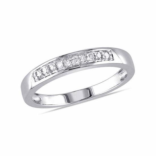 Womens 2MM 1/10 CT. T.W. Genuine White Diamond Sterling Silver Wedding Band