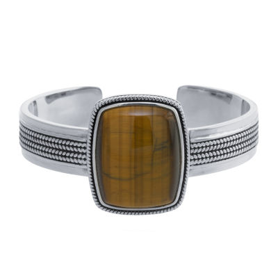 Womens Brown Tiger's Eye Cuff Bracelet