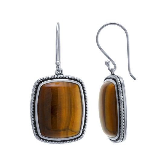 Genuine Brown Tiger's Eye Sterling Silver Drop Earrings