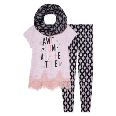 Self Esteem Positive Message Shirt w Scarf Legging Set- Girls' 7-16
