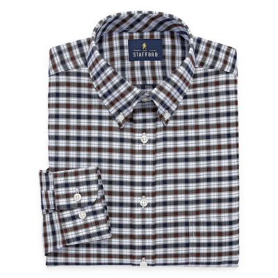 Stafford Travel Wrinkle-Free Oxford Lon- Sleeve Dress Shirt
