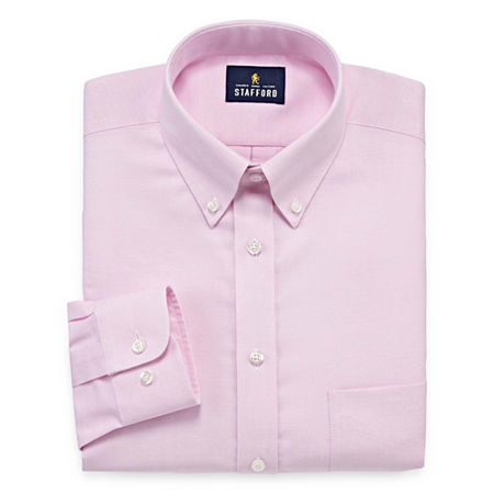 1940s Men's Fashion, Clothing Styles Stafford Mens Wrinkle Free Oxford Button Down Collar Fitted Dress Shirt 17 36-37 Pink $10.99 AT vintagedancer.com