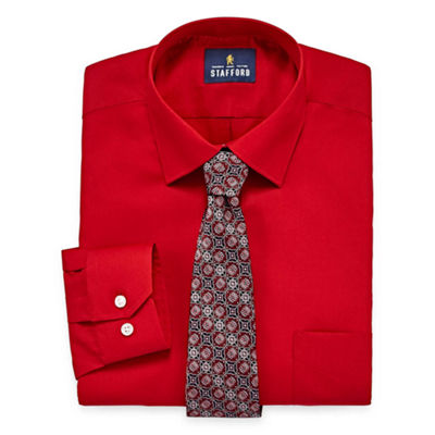 Stafford® Travel Easy-Care Long Sleeve Shirt and Tie Set