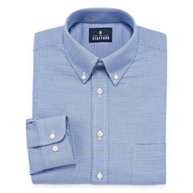 Stafford Stafford Wrinkle-Free Oxford Long Sleeve Woven Dress Shirt