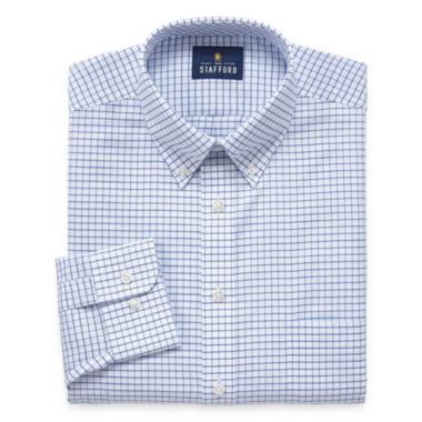 Stafford Stafford Wrinkle-Free Oxford Long Sleeve Woven Grid Dress Shirt