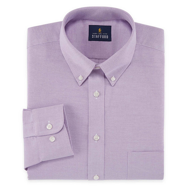 Stafford travel wrinkle free stretch oxford long sleeve for Where to buy stafford dress shirts