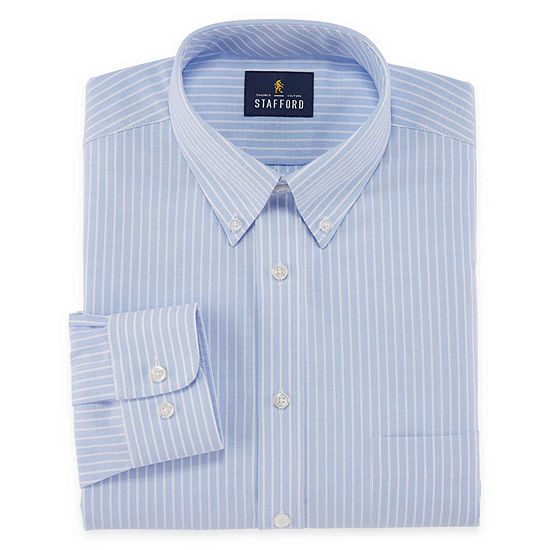 Stafford Mens Wrinkle Free Oxford Button Down Collar Regular Fit Dress Shirt