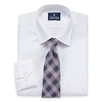 Stafford Travel Easy-Care Big and Tall Long Sleeve Shirt + Tie Set