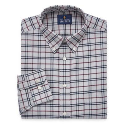 Stafford Travel Wrinkle-Free Oxford Long-Sleeve Woven Pattern Dress Shirt Big & Tall