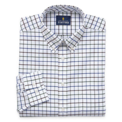 Stafford Stafford Wrinkle-Free Oxford Big And Tall Long Sleeve Woven Pattern Dress Shirt
