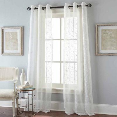 Floral Scroll 2-Pack Grommet-Top Sheer Curtain Panel