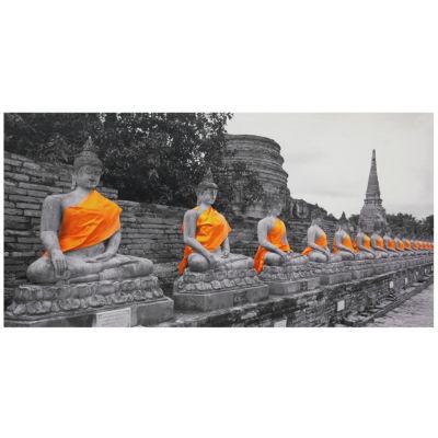Oriental Furniture Golden Buddhas Canvas Art