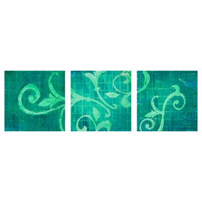 Oriental Furniture Emerald Greenery Triptych 3-pc. Canvas Art