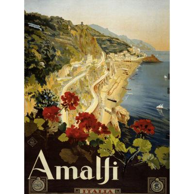 Oriental Furniture Coast Of Amalfi Vintage Travel Art Canvas Art