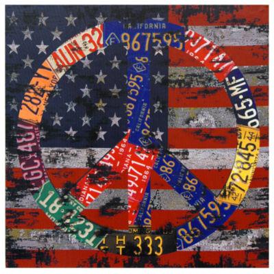 Oriental Furniture American Flag Peace Canvas Art