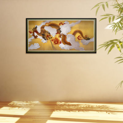 Oriental Furniture Dragons In The Sky Canvas Art