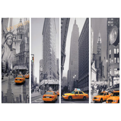 Oriental Furniture New York Taxi 4-pc. Canvas Art