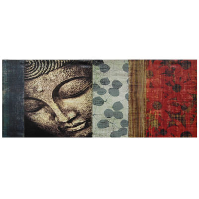 Oriental Furniture Peaking Buddha Statue Canvas Art