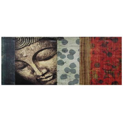 Oriental Furniture Peaking Buddha Statue Canvas Art