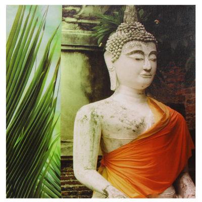 Oriental Furniture Orange Draped Buddha Canvas Art